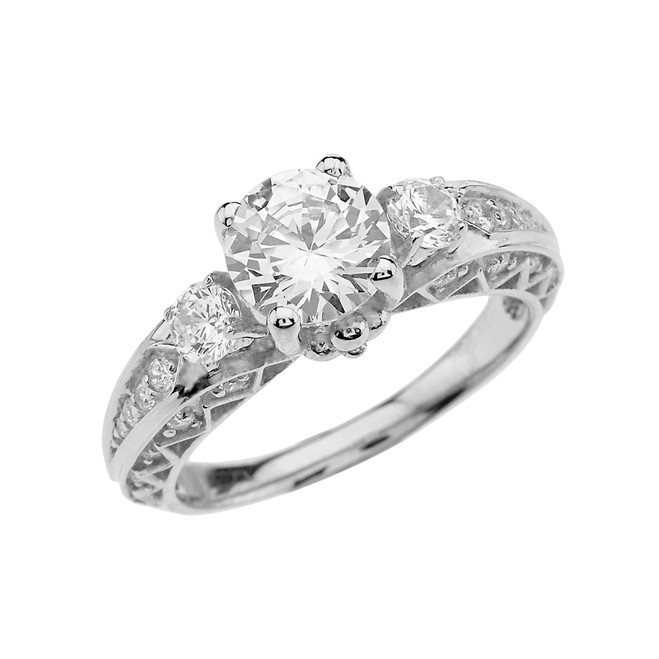 White Gold Engagement and Proposal/Promise Ring With 7mm Cubic Zirconia