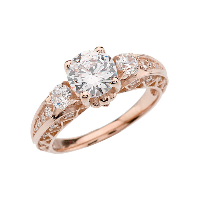 Rose Gold Engagement and Proposal/Promise Ring With 7mm Cubic Zirconia