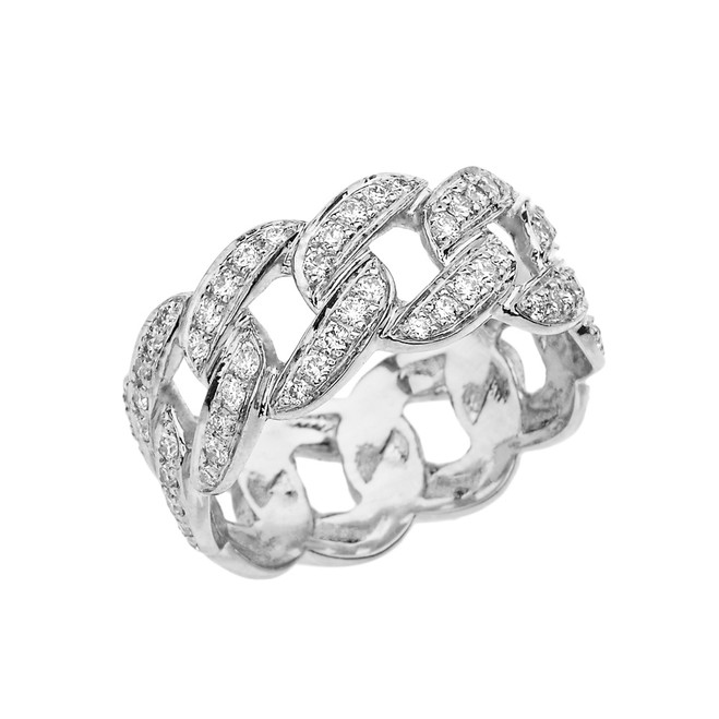 Unisex White Gold Cuban Link Chain Design Diamond Eternity Band