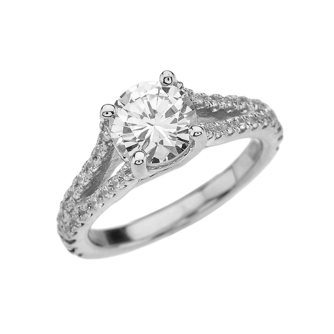 White Gold Double Raw Engagement/Proposal Ring With Cubic Zirconia