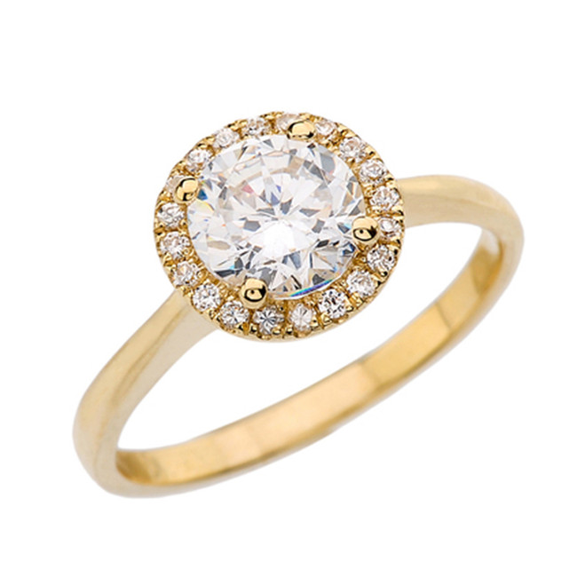 Yellow Gold Round Halo Engagement/Proposal Ring With Cubic Zirconia