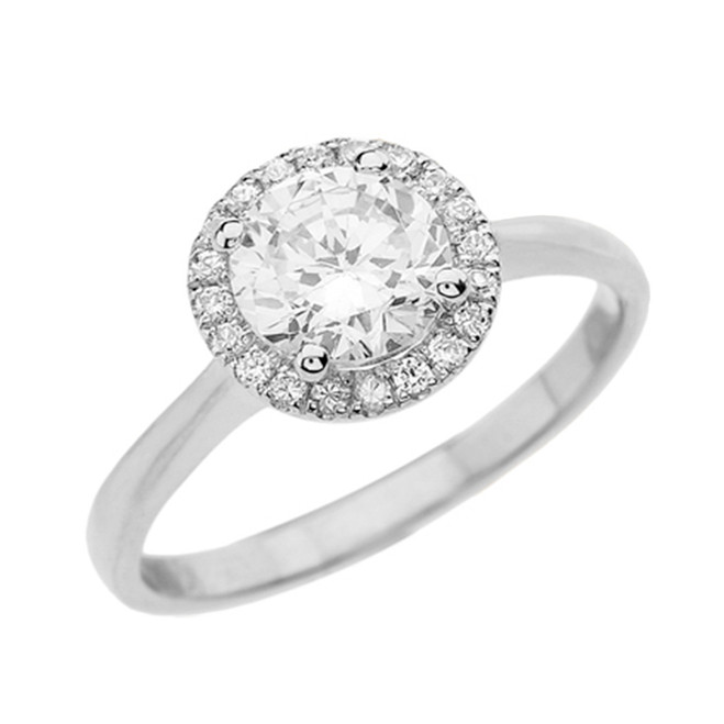 White Gold Round Halo Engagement/Proposal Ring With Cubic Zirconia