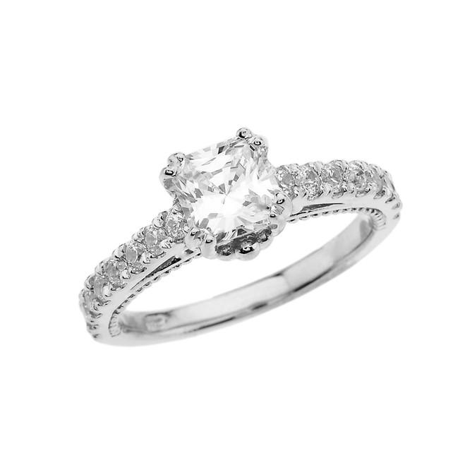 Elegant White Gold Proposal/Wedding Ring