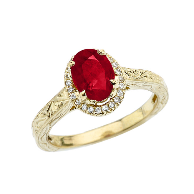 Yellow Gold Art Deco Halo Diamond With Ruby(LCR) Engagement/Proposal Ring