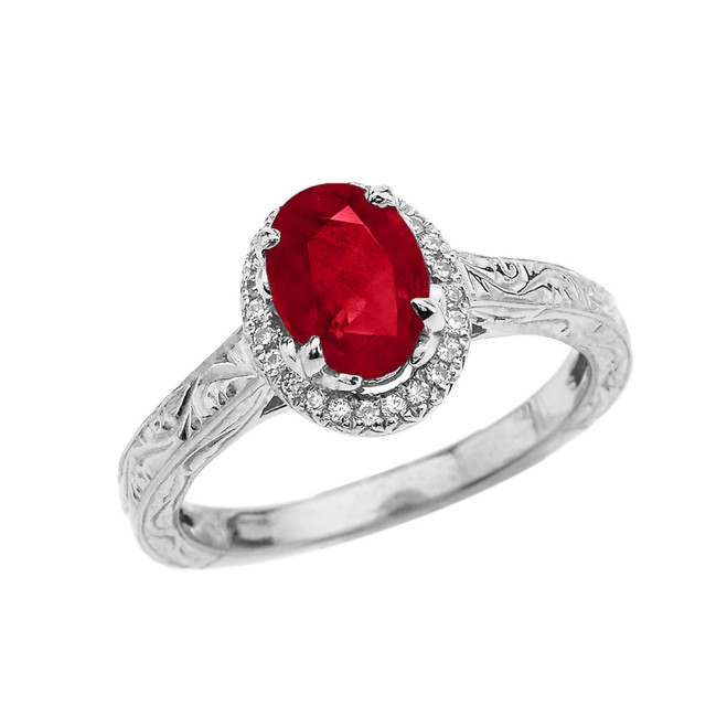 White Gold Art Deco Halo Diamond With Ruby(LCR) Engagement/Proposal Ring