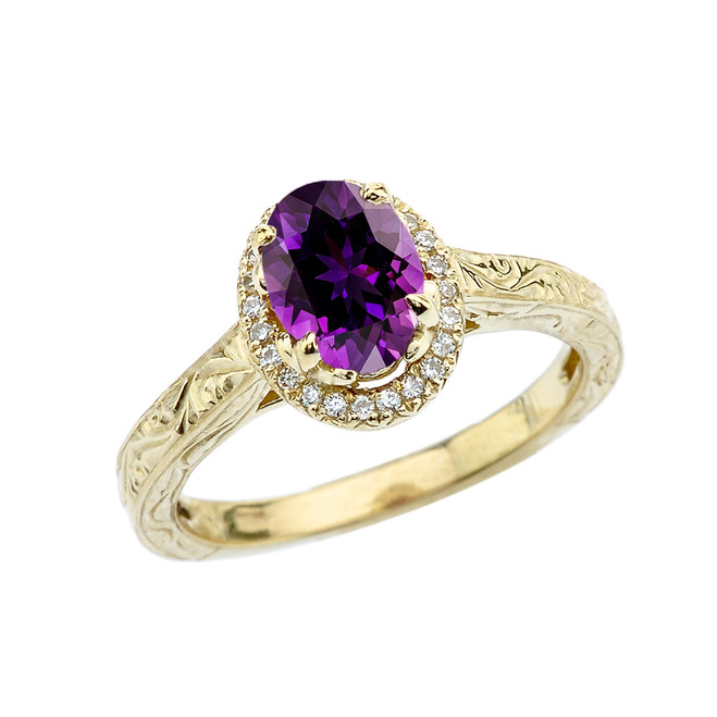 Yellow Gold Art Deco Halo Diamond With Amethyst Engagement/Proposal Ring