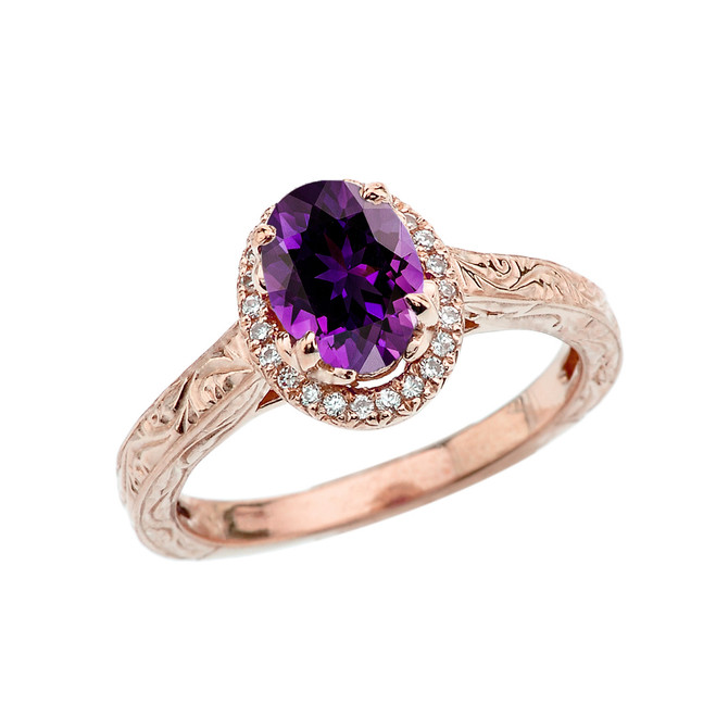Rose Gold Art Deco Halo Diamond With Amethyst Engagement/Proposal Ring