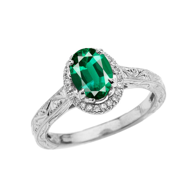 White Gold Art Deco Halo Diamond With Emerald(LCE) Engagement/Proposal Ring
