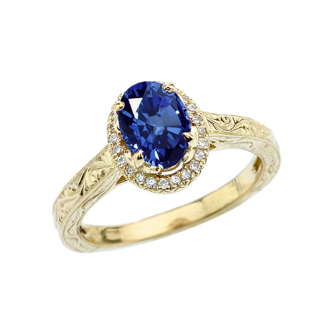 Yellow Gold Art Deco Halo Diamond With Sapphire(LCS) Engagement/Proposal Ring
