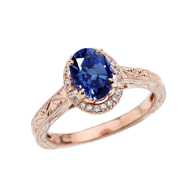 Rose Gold Art Deco Halo Diamond With Sapphire(LCS) Engagement/Proposal Ring