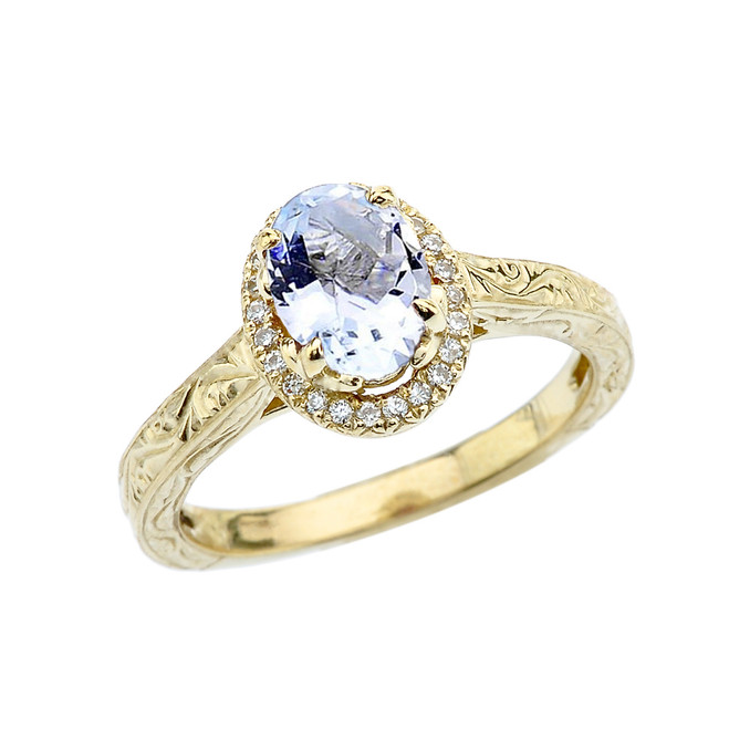 Yellow Gold Art Deco Halo Diamond With Aquamarine Engagement/Proposal Ring