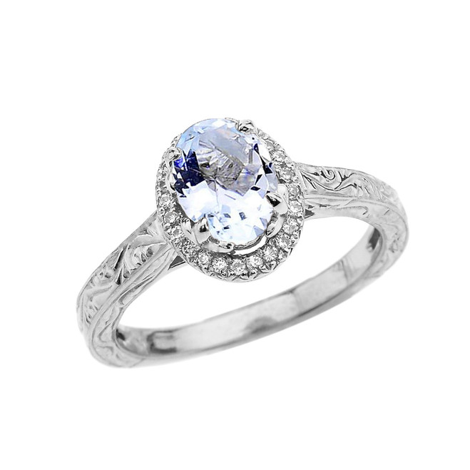 White Gold Art Deco Halo Diamond With Aquamarine Engagement/Proposal Ring