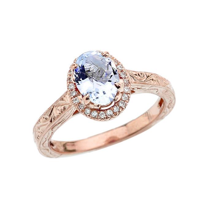 Rose Gold Art Deco Halo Diamond With Aquamarine Engagement/Proposal Ring