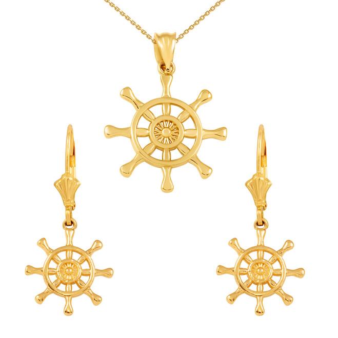 14K Yellow Gold Nautical Ship Wheel Pendant Necklace Earring Set