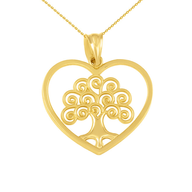 Yellow Gold Tree of Life Open Heart Filigree Pendant Necklace