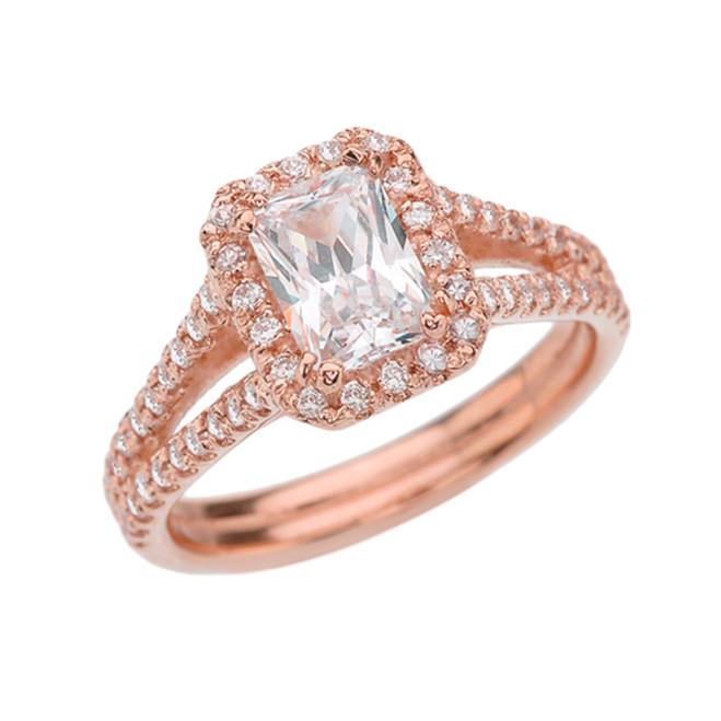Rose Gold Emerald Cut Halo Bridal Rings