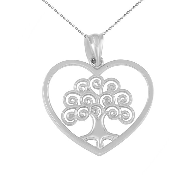 White Gold Tree of Life Open Heart Filigree Pendant Necklace