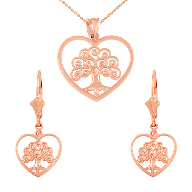 14k Rose Gold Tree of Life Open Heart Filigree Pendant Necklace Earring Set