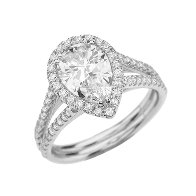 Halo Pear-Shaped Cubic Zirconia Center Engagement Ring in White Gold