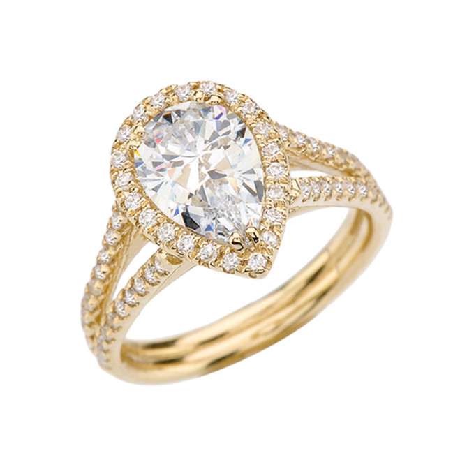 Diamond Halo Pear-Shaped Cubic Zirconia Center Engagement Ring in Yellow Gold