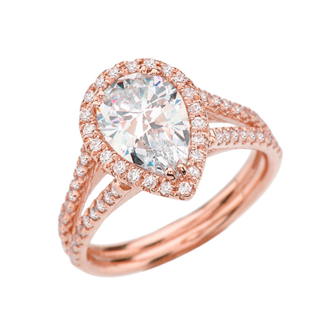 Diamond Halo Pear-Shaped Cubic Zirconia Center Engagement Ring in Rose Gold
