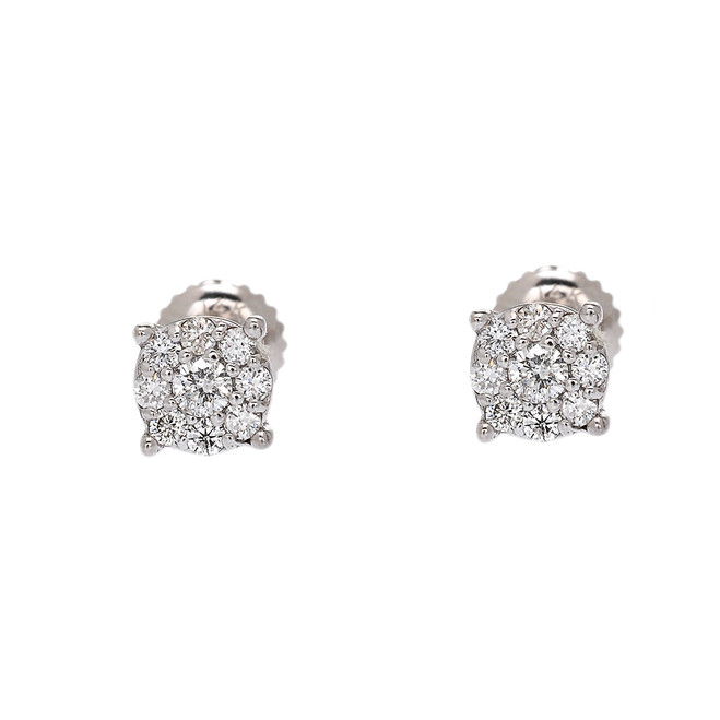White Gold Halo Diamond Stud Earrings (5 mm)