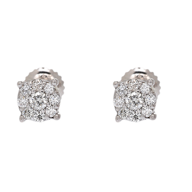 White Gold Halo Diamond Stud Earrings (6 mm)
