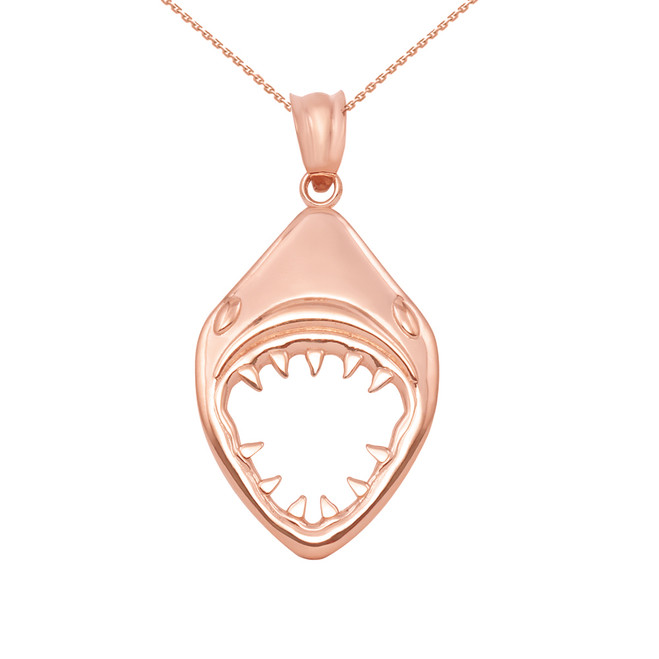 Rose Gold Great White Shark Jaws Pendant Necklace