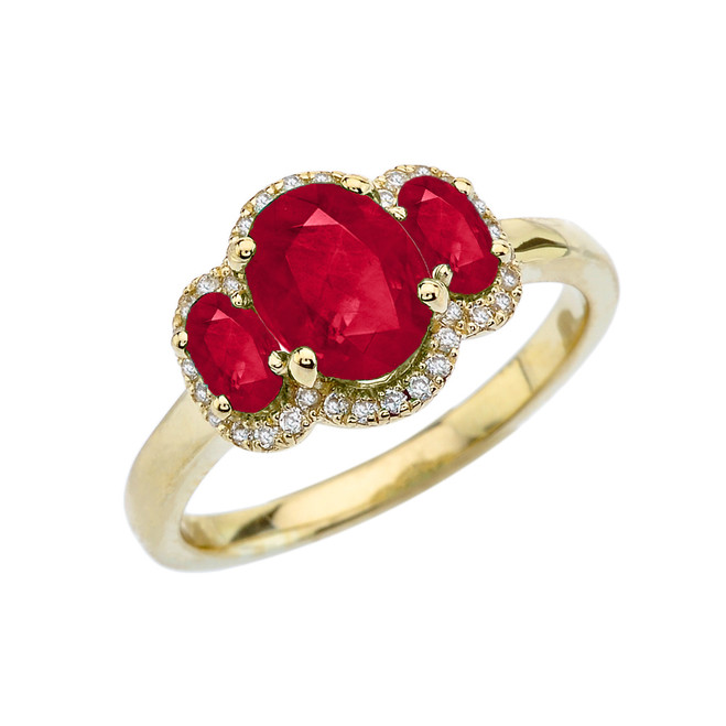 Three-Stone Red CZ with Diamond Halo Engagement Ring in Yellow Gold