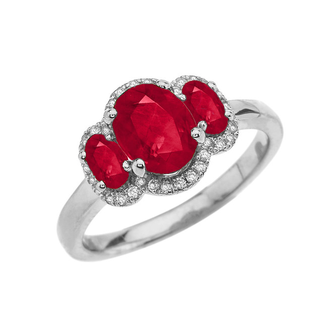 Three-Stone Red CZ with Diamond Halo Engagement Ring in White Gold