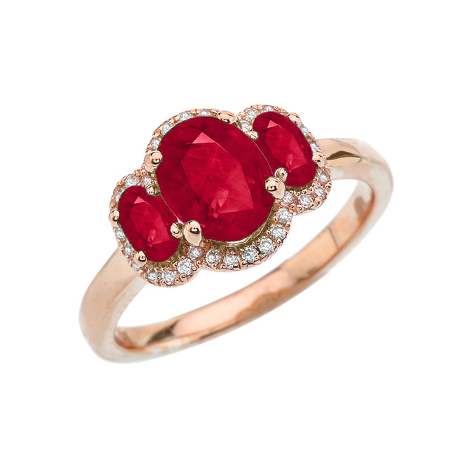 Three-Stone Red CZ with Diamond Halo Engagement Ring in Rose Gold