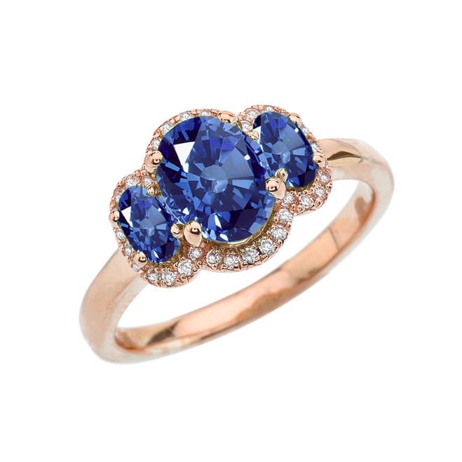 Three-Stone Blue CZ with Diamond Halo Engagement Ring in Rose Gold
