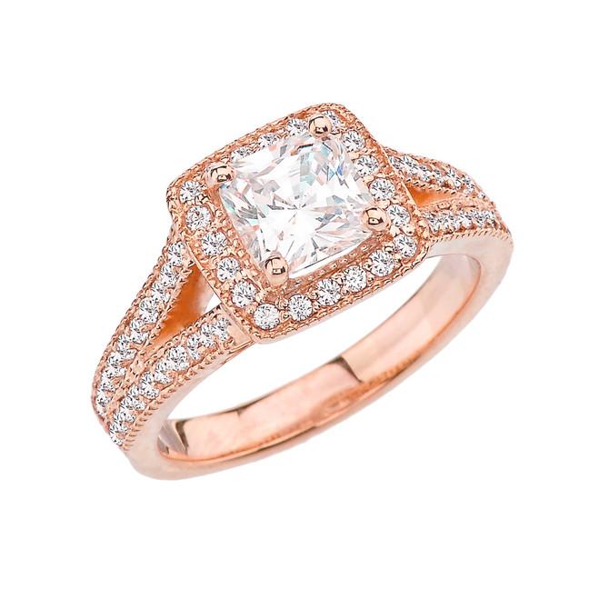 Rose Gold Halo Princess Cut Engagement/Proposal Ring