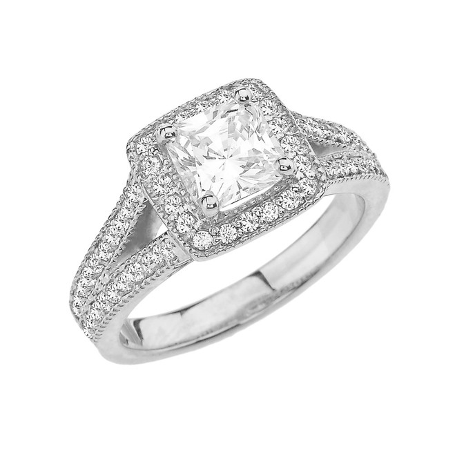 White Gold Diamond Halo Princess Cut Engagement/Proposal Ring With Cubic Zirconia Center Stone