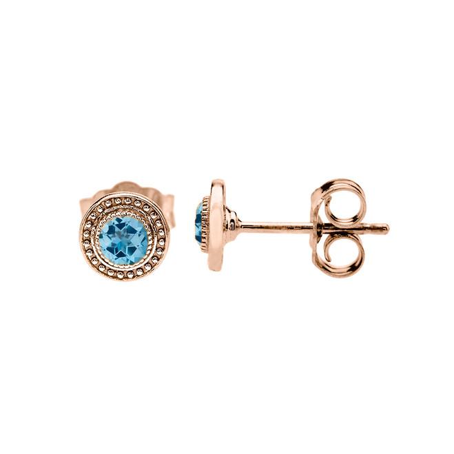 Rose Gold Blue Topaz Stud Earrings