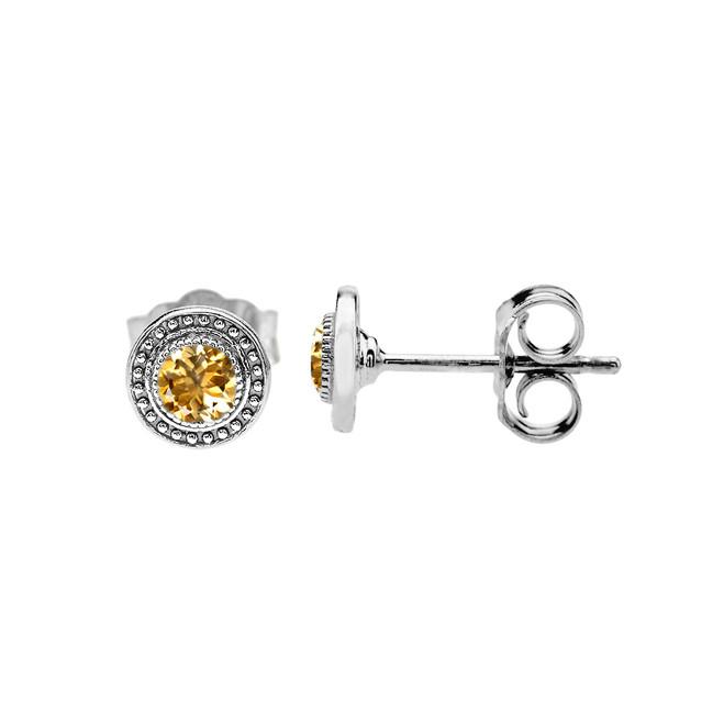 White Gold Citrine Stud Earrings