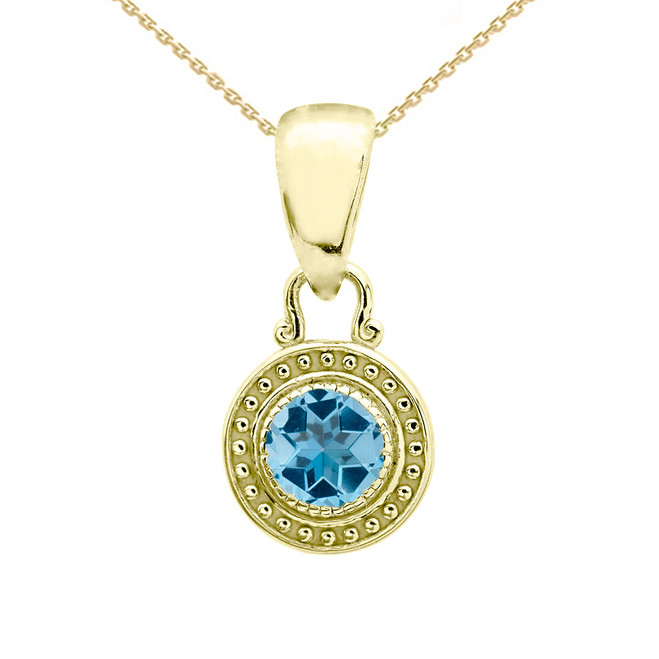 Solitaire Blue Topaz Yellow Gold Pendant Necklace