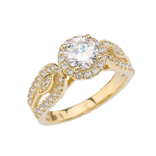 Elegant CZ Halo Engagement Ring in Yellow Gold