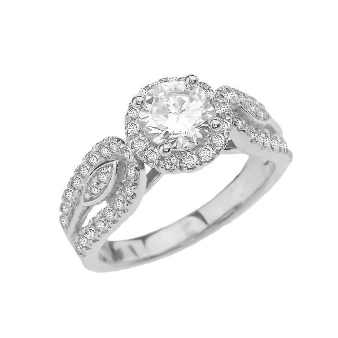 Elegant CZ Halo Engagement Ring in White Gold