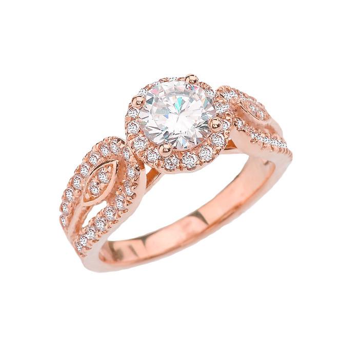 Elegant CZ Halo Engagement Ring in Rose Gold