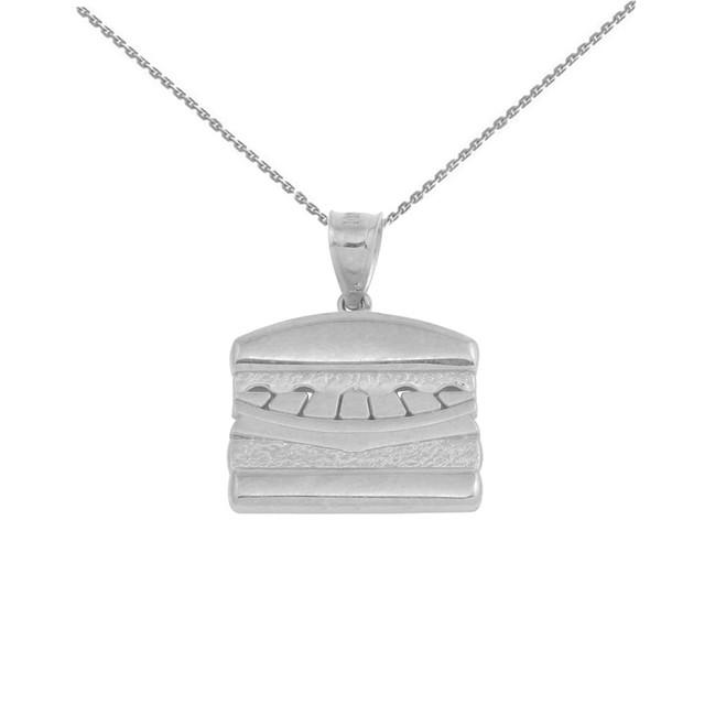 White Gold Hamburger Pendant Necklace