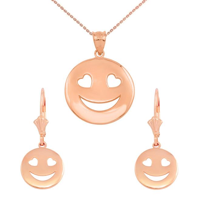 14K Rose Gold Heart Eyes Smiley Face Pendant Necklace Earring Set