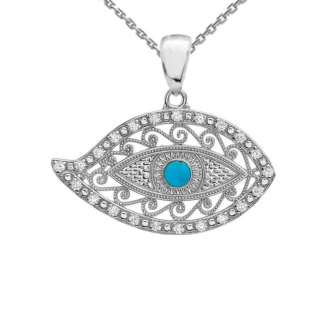 White Gold Evil Eye Diamond Pendant Necklace With Turquoise Center Stone