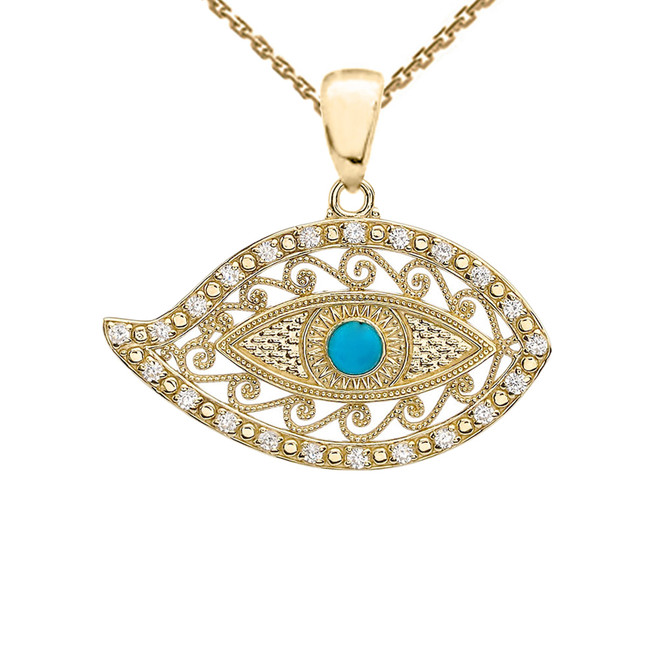 Yellow Gold Evil Eye Cubic Zirconia Pendant Necklace With Turquoise Center Stone