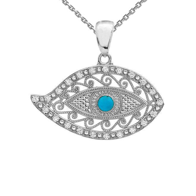 White Gold Evil Eye Cubic Zirconia Pendant Necklace With Turquoise Center Stone