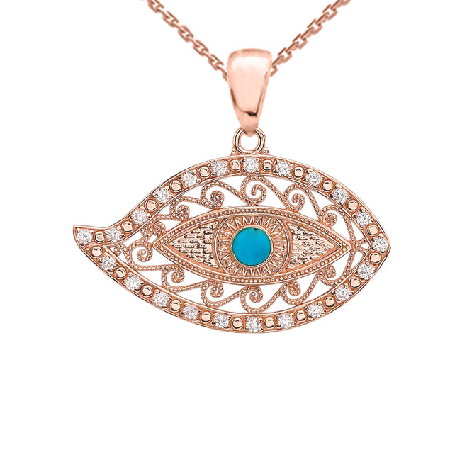 Rose Gold Evil Eye Cubic Zirconia Pendant Necklace With Turquoise Center Stone