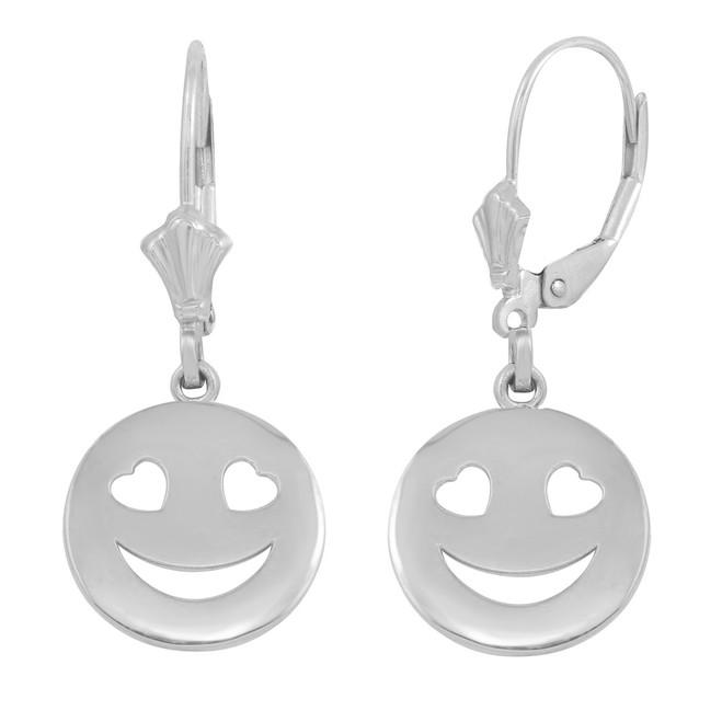Sterling Silver Heart Eyes  Smiley Face Earring Set