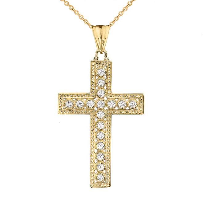 Yellow Gold Cross Diamond Pendant Necklace