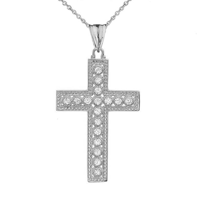 White Gold Cross Diamond Pendant Necklace