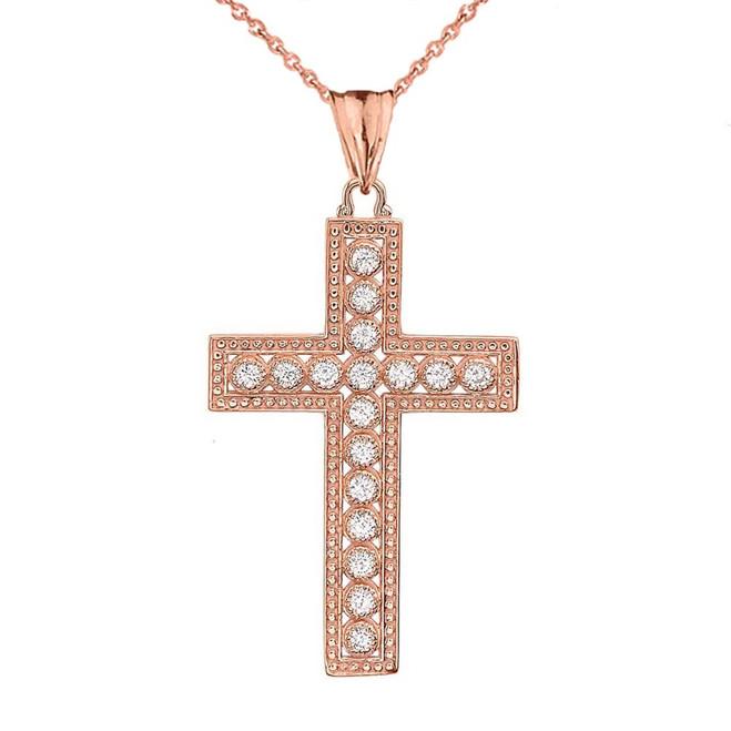 Rose Gold Cross Diamond Pendant Necklace